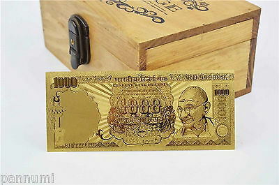 INDIA 1000 Rupees *MAHATMA GANDHI* 24k Gold Plated Banknote with COA (n36g)