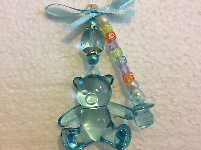 Personalised baby pram charms hand made large blue teddy keepsake /gift