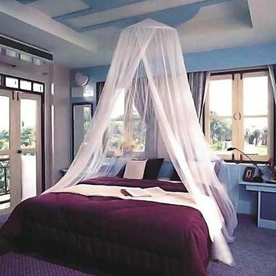 ELEGANT White Round Double Bed Canopy Net Mosquito Repeller Princess Mesh BC01