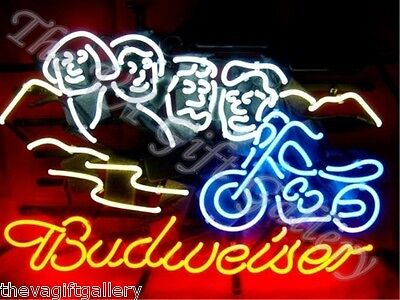 Budweiser Sturgis Neon Sign Light Football Beer Bike Alcohol Mt Rushmore 24x13