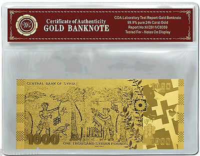 SYRIA 1000 Pounds 24k Gold Plated Banknote with *COA* NEW (n74g)