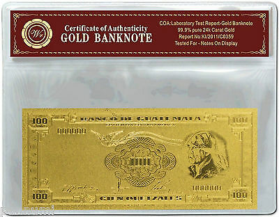 GUATEMALA 100 Quetzales 24k Gold Plated Banknote with *COA* NEW (n84g)