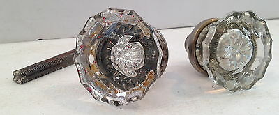 "Set of 2 Unmatched Glass Crystal Clear Antique Door Knobs, 5/16"" SQ Vtg. Antique"