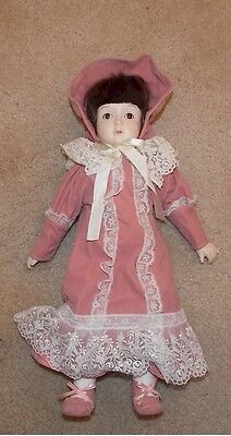 """COLLECTIBLE HERITAGE 15"""" PORCELAIN DOLL w/ Pink Dress trimmed in lace w/ Bonnet"""