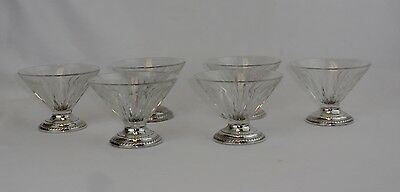 Mid Century Sterling Silver and Glass Footed Sherberts Ice Cream Glasses 6