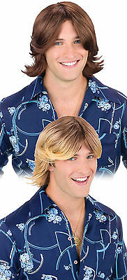 Era 1970/'S Beach Bum Hippie Surfer Dude Mens Short Costume Wig