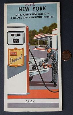 1961 Atlantic Oil Gas service station Metropolitan New York road map-VINTAGE!