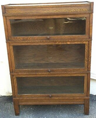 Antique Hale's Herkimer Oak Barrister Bookcase Mission Cabinet Globe Wernicke