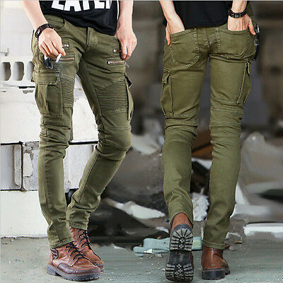 Fashion Mens Jeans Slim Fit Straight Skinny Fit Denim Trousers Casual Pants