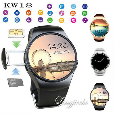 KW18 Waterproof Bluetooth Smart Watch SIM GSM Phone For Android iPhone Samsung