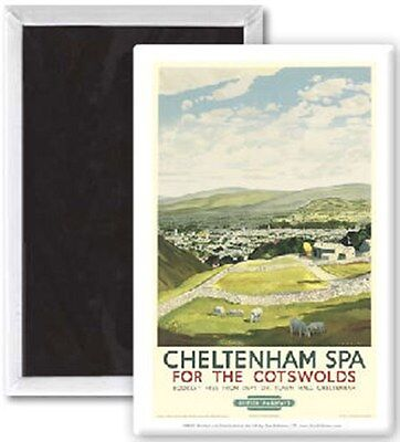 Cheltenham Spa for the Cotswolds (old rail ad.) fridge magnet  (se)