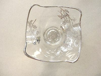 "Vtg Sterling Silver Overlay 6 "" Clear Glass Bowl Just Lovely Floral Design"