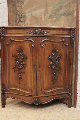 Antique French Corner Cabinet Louis XV Bombe Design Marble Top 19th Century