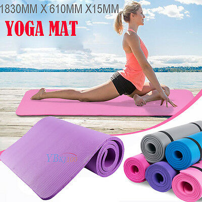 Yoga Mat Pad 15mm Thick Exercise Fitness Camping Gym Mats Soft Double Non Slip