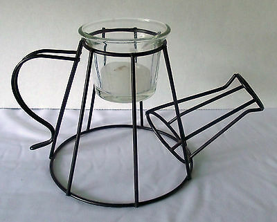 Wire Watering Can Candle Holder Black Metal Glass Votive Decor Sculpture Shape