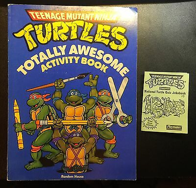 Vintage Teenage Mutant Ninja Turtles Totally Awesome Activity Book Quiz Jokebook