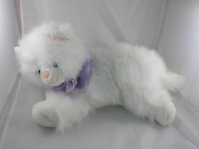 """Animal Alley White Cat Kitten Plush 16"""" from nose to behind Sparkle"""