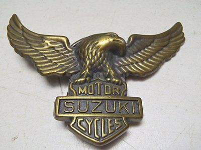 Vintage Suzuki Motorcycles Belt Buckle Brass Eagle Wings