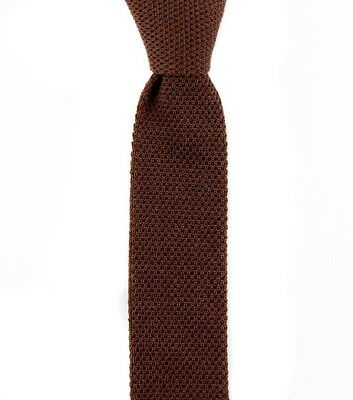 """Men's SANTOSTEFANO Brown Wool Knit Skinny Square End 2"""" Neck Tie NWT $195"""