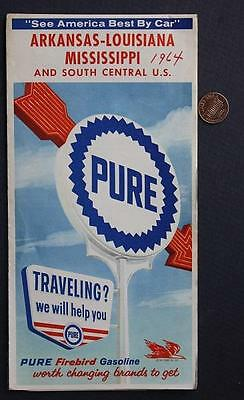 1964 Pure Oil Gas service station Arkansas-Louisiana-Mississippi & USA road map!