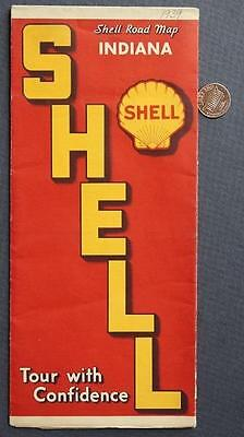 1939 Shell Oil Gas service station Indiana giveaway road map-Great Depression!