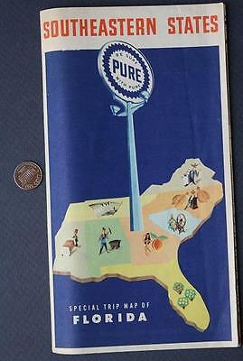 1950s Pure Oil Gas service station Southeastern United States-Florida road map!