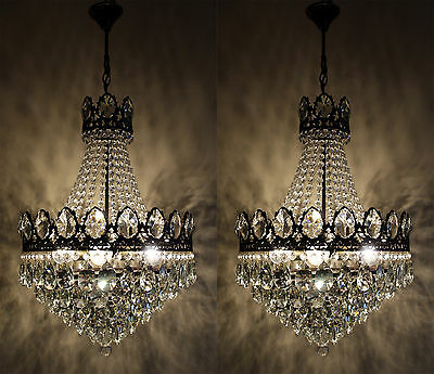 Pair of Large Size Antique French Basket Style Brass &  Crystals Chandelier Lamp