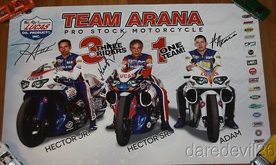 2014 Team Arana Buell Pro Stock Motorcycle signed NHRA Poster 3 Riders