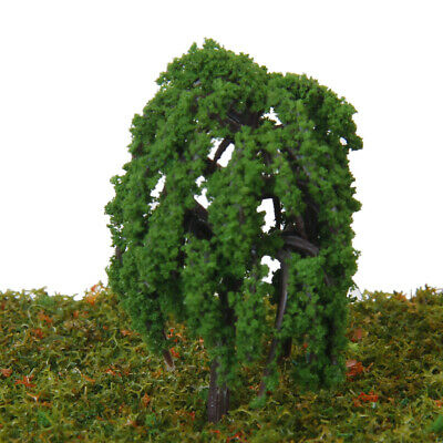 50pcs 5cm Green Willow Trees Model Park Garden Trains Buildings Layout Scenery