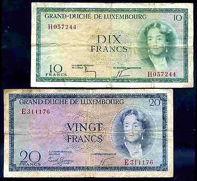 Luxembourg. Three notes, inc Ten Francs H057244, (1954).