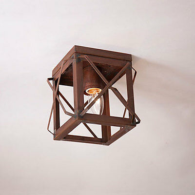 Rustic Tin Single Ceiling Light with Folded Bars - Primitive Country Lighting