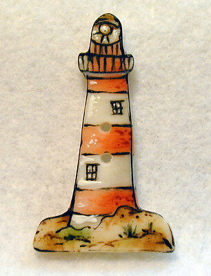 """Handcrafted Porcelain Button Realistic Lighthouse  1 & 1/2"""" x 7/8 """" FREE US SHIP"""