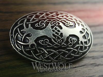 Large Celtic Tree of Life Oval Brooch --- Viking/Yggdrasil/Silver/Coat/Cloak Pin