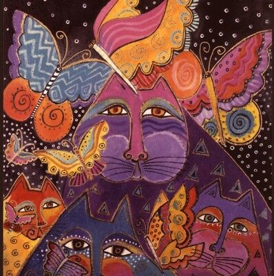 Laurel Burch...dramatic Cats With Butterflies,art Deco Design,blank Note  Card