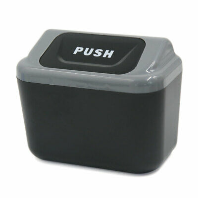 Mini Vehicle Car Garbage Dust Case Holder Box Bin Trash Rubbish Can Black Gray