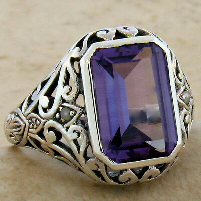 5 Ct. Color Changing Lab Alexandrite Antique Design 925 Silver Ring Size 8, #496