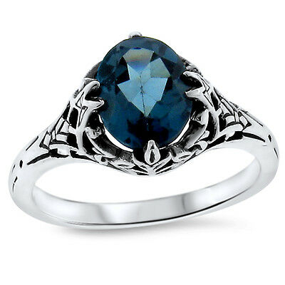 3.50 TCW Genuine London Blue Topaz Halo Ring in .925 Sterling Silver
