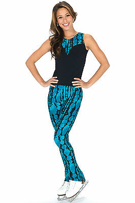 NEW FIGURE SKATING PANTS Waterfalls  Jerry's Shiver Black Turquoise AS Small