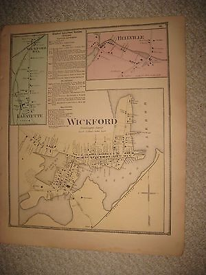 Antique 1870 Wickford Bellville North Kingston Rhode Island Handcolored Map Rare