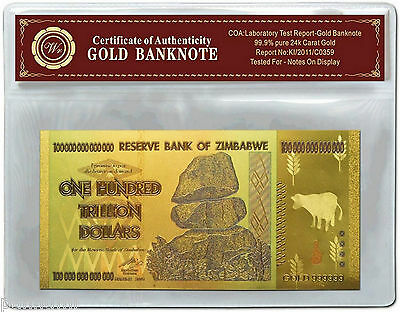 Colourised ZIMBABWE 100 Trillion Dollars 24k Gold Plated Banknote + COA (n42c)