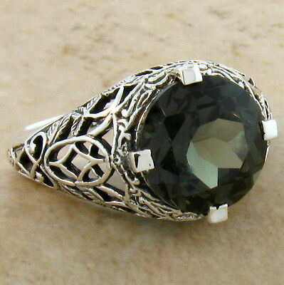 4 Ct. Sim Tourmaline Antique Design Sterling Silver Filigree Ring Size 10, #529