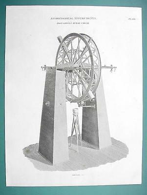 ASTRONOMY Troughton's Mural Telescope - 1820 Antique Print by A. Rees