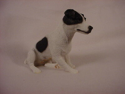 SMOOTH JACK RUSSELL dog HAND PAINTED FIGURINE Resin Statue BLACK WHITE puppy NEW