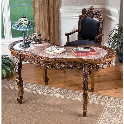 Majestic Hand Carved Regal Solid Hardwood Antique Replica Marble Top Desk NEW
