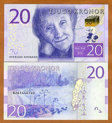 Sweden, 20 Kronor, 2015, P-69, Redesigned UNC