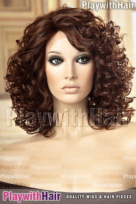 Lace Front Wig Bouncy Ringlet Curls Heat Safe Friendly OK Three Tone Brown
