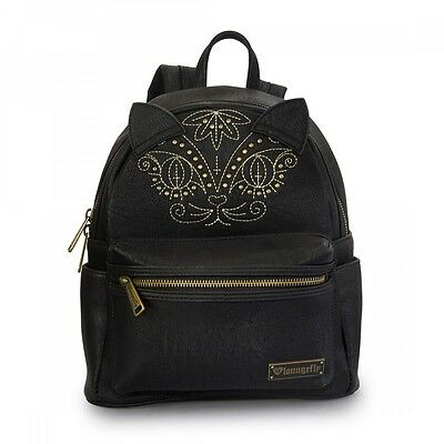 New LOUNGEFLY School Bag BLACK CAT Backpack GOLD METAL STUD Faux Vegan Leather