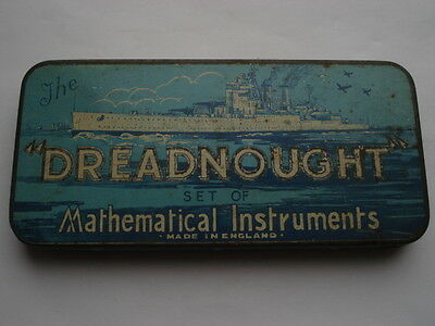 """C1920S Vintage The """"dreadnought"""" Set Of Mathematical Instruments Tin&contents"""