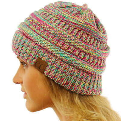 cfba47d79a06a8 CC Quad Color Warm Chunky Thick Stretchy Knit Slouchy Beanie Skull Cap Hat