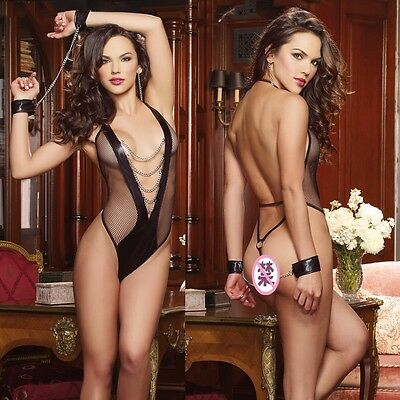 sexy chains lingerie costumes mesh teddy erotic Women Underwear handcuff suits